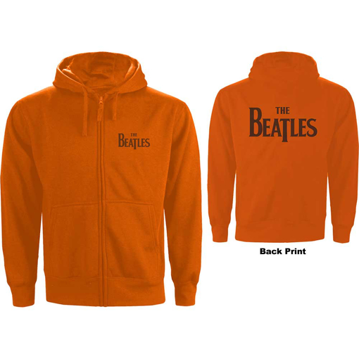 Picture of Beatles Hoodie:  Unisex Zipped Hoodie Drop T Logo in Orange