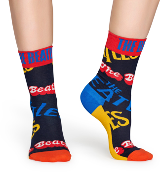 "Picture of Beatles Socks: Happy Socks Women's Blue ""The Beatles"" Socks"