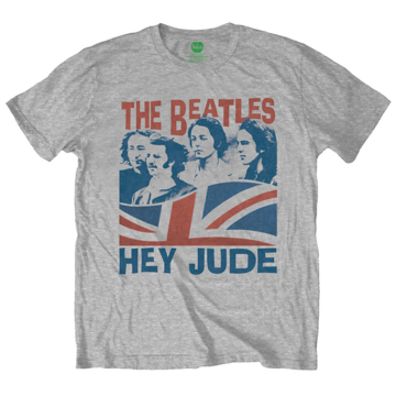 Picture of Beatles Adult T-Shirt: Beatles Hey Jude Flag  Grey