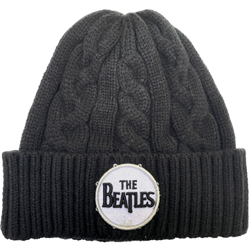 Picture of Beatles Beanie: Beatles Drum Logo Black Cable Knit