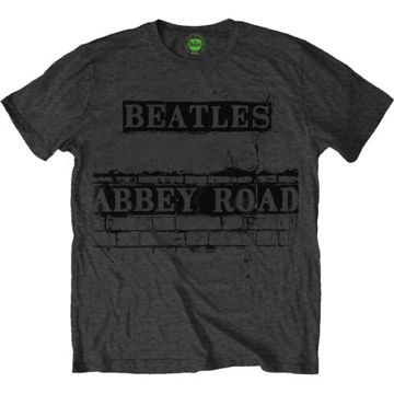 Picture of Beatles Adult T-Shirt: Abbey Road Sign Bricked Grey