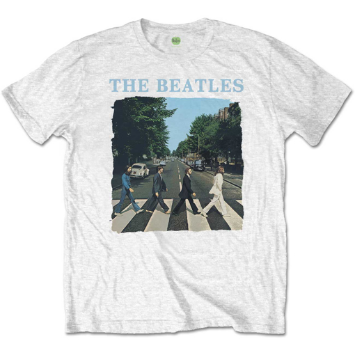 Picture of Beatles Adult T-Shirt: Abbey Road & Logo (White Tee)