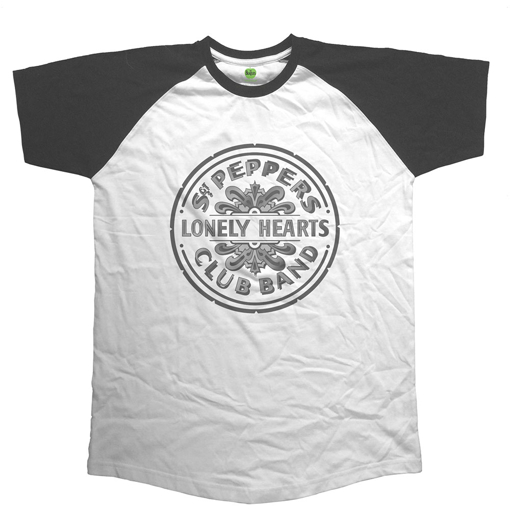 Picture of Beatles Adult T-Shirt: Sgt Pepper Drum Raglan Style B&W