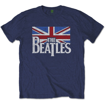 Picture of Beatles Adult T-Shirt: British Flag - Union Jack Navy