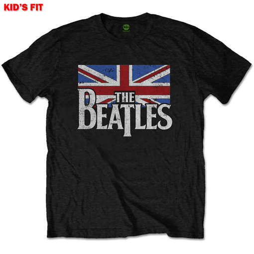 Picture of Beatles Kid Shirt: The Beatles Drop T Logo Flag  - Black Kids 3 -10