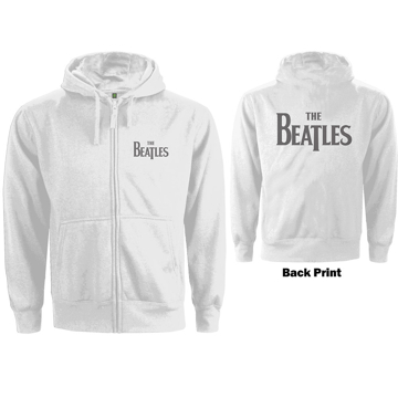 Picture of Beatles Hoodie: JR Zipped Drop T Logo in White