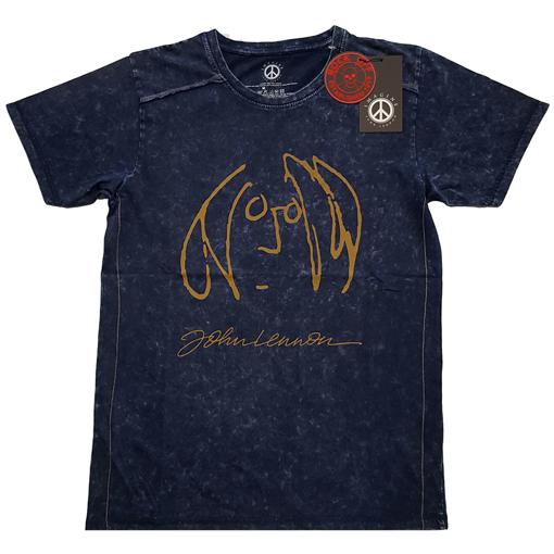 Picture of Beatles Adult T-Shirt: John Lennon Portrait Snow Wash (Navy)