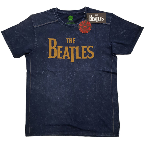 Picture of Beatles Adult T-Shirt: Classic Black Drop-T Snow Wash (Navy)